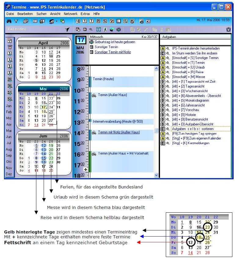 IPS-Terminkalender mit Erläuterungen