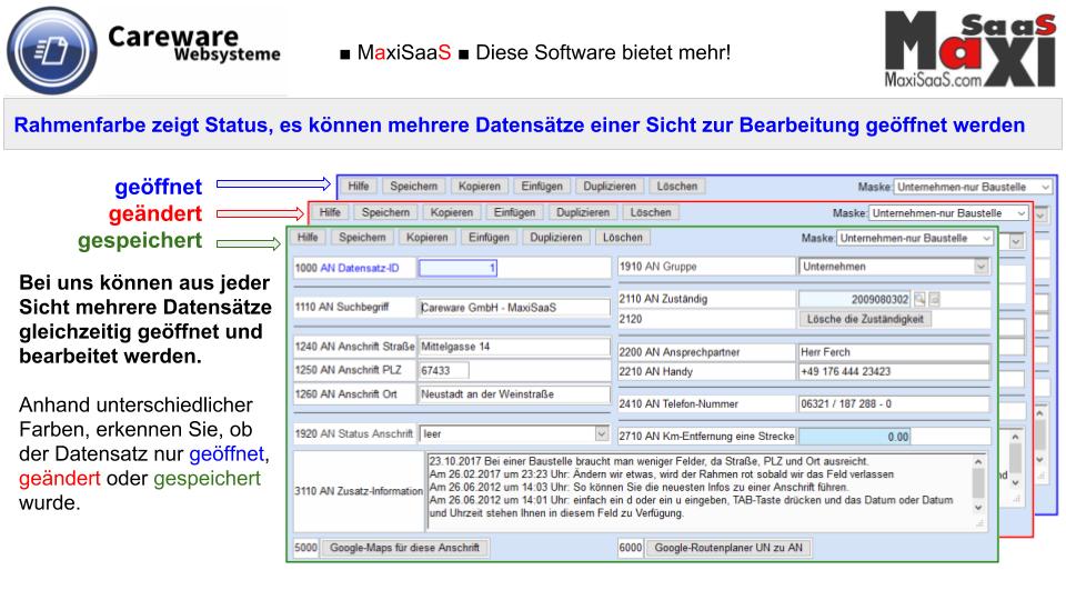MaxiSaaS - Entwicklungssystem Masken - Erläuterung Rahmenfarbe