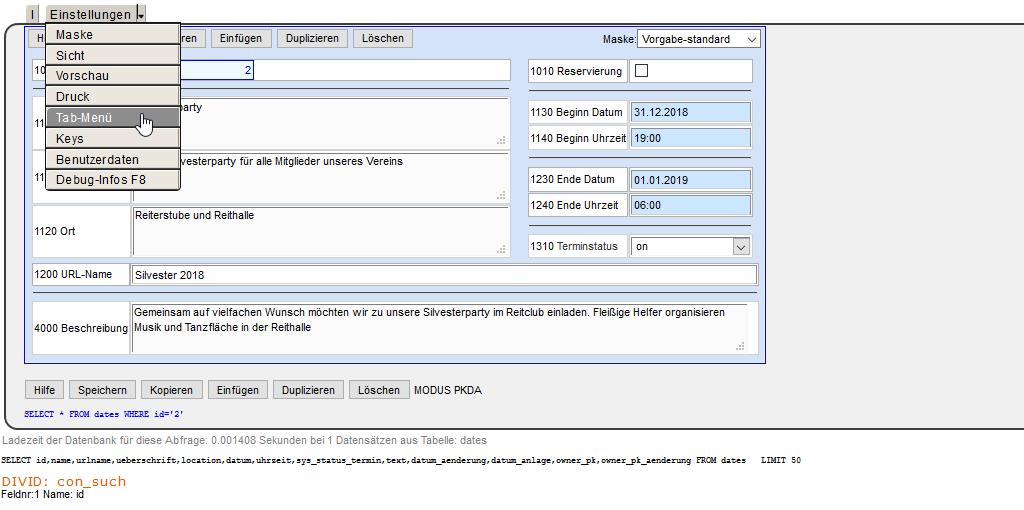 MaxiSaaS - Konfiguration Einstellungen Tab-Menü dates