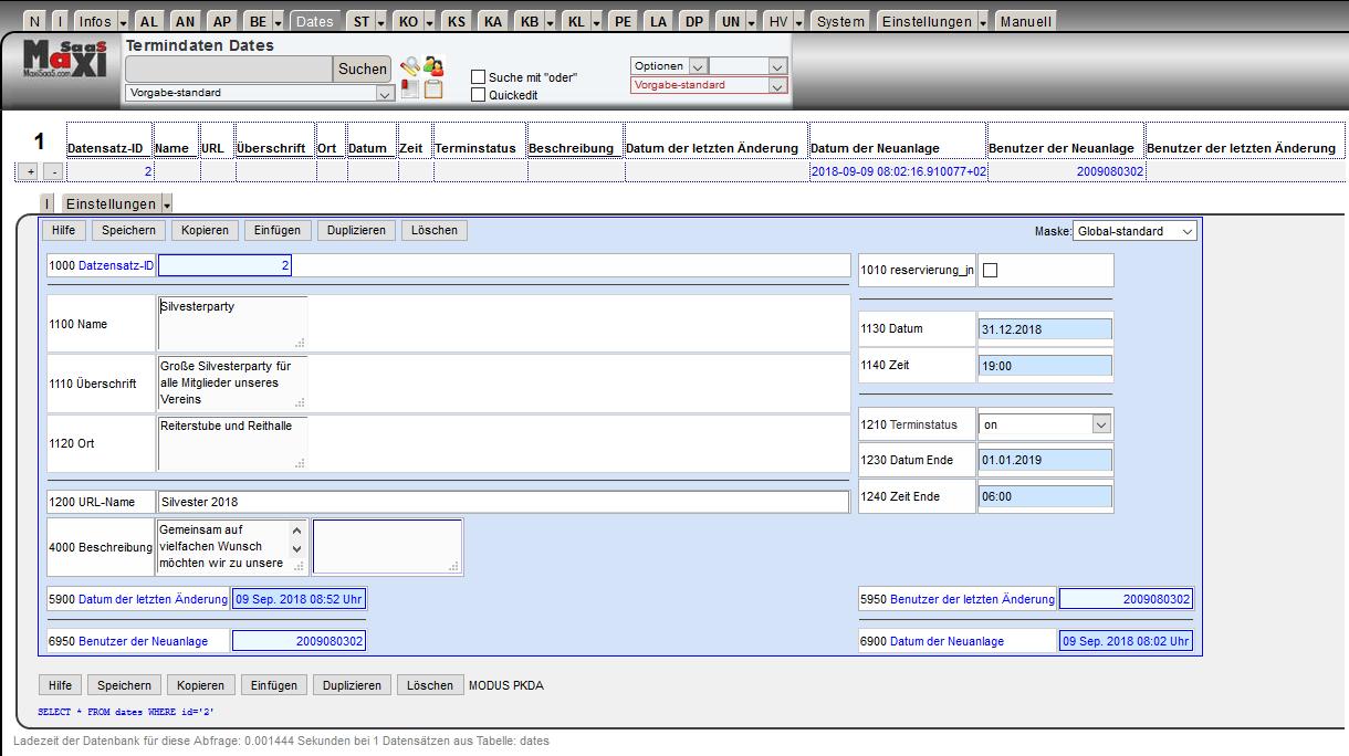 MaxiSaaS - Konfiguration Masken Einstellungen 1.Maske