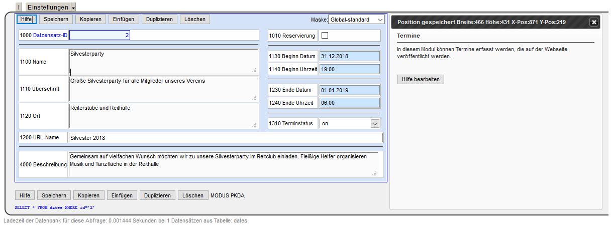 MaxiSaaS - Konfiguration Masken Einstellungen 2.Maske