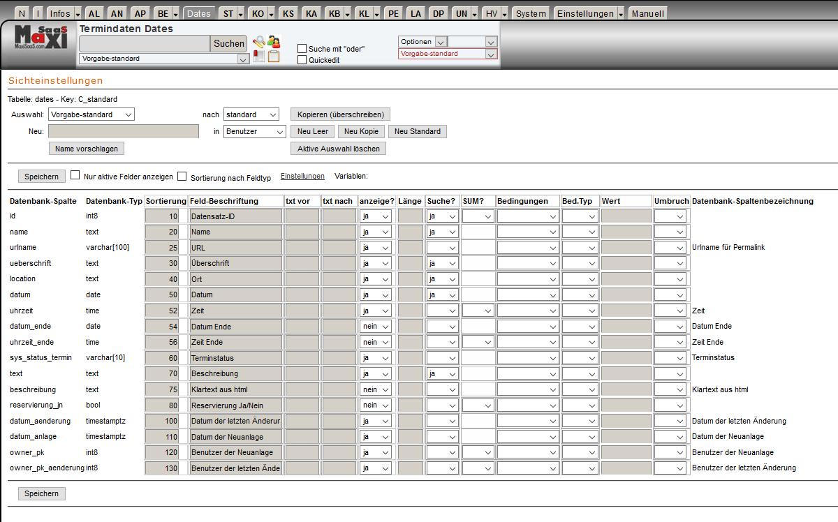 MaxiSaaS Entwicklung Schritt 3 Konfiguration Sicht anlegen